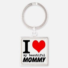 I Heart My Beautiful Mommy Square Keychain