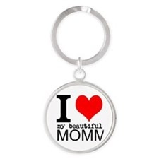 I Heart My Beautiful Mommy Round Keychain