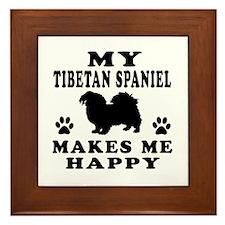 My Tibetan Spaniel makes me happy Framed Tile