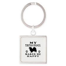 My Tibetan Spaniel makes me happy Square Keychain