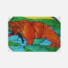 BEAR CATCHING FISH-TILED Rectangle Magnet