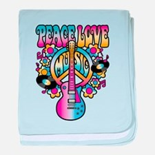 Peace Love & Music baby blanket