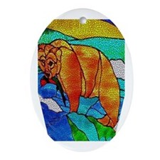 BEAR CATCHING FISH Oval Ornament