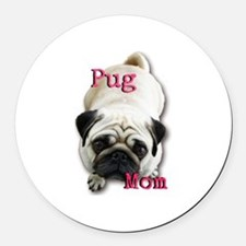 Pug Mom Round Car Magnet