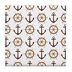 Anchor Pattern Ship Wheel Brown Tile Coaster