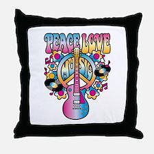 Peace Love & Music Throw Pillow