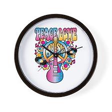 Peace Love & Music Wall Clock