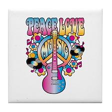 Peace Love & Music Tile Coaster