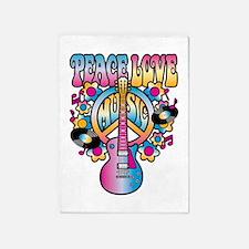 Peace Love & Music 5'x7'Area Rug