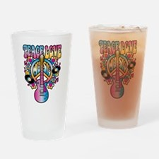 Peace Love & Music Drinking Glass