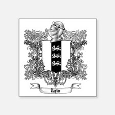 """Taylor Family Crest 2 Square Sticker 3"""" x 3"""""""