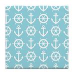 Aqua Ships Wheel Anchor Pattern Tile Coaster