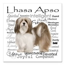 "Lhasa Apso Traits Square Car Magnet 3"" x 3"""