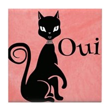 Black Kitty on Pink-Yes Tile Coaster