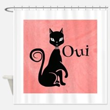 Black Kitty on Pink-Yes Shower Curtain