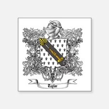 """Taylor Family Crest 3 Square Sticker 3"""" x 3"""""""