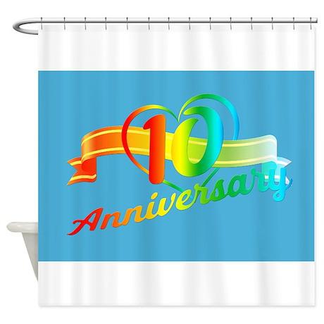 Rainbow 10 Year Anniversary Shower Curtain By Admin