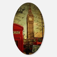 vintage London UK fashion  Sticker (Oval)