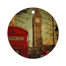 vintage London UK fashion  Round Ornament