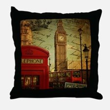 vintage London UK fashion  Throw Pillow
