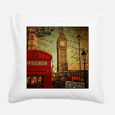 vintage London UK fashion  Square Canvas Pillow