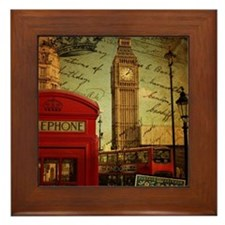 vintage London UK fashion  Framed Tile