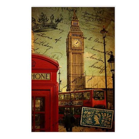 vintage London UK fashion Postcards (Package of 8)