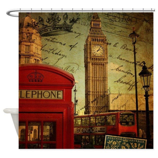 vintage London UK fashion Shower Curtain by ADMIN_CP62325139