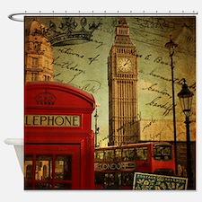 vintage London UK fashion  Shower Curtain