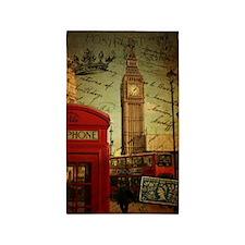 vintage London UK fashion  3'x5' Area Rug