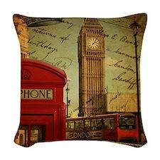 vintage London UK fashion  Woven Throw Pillow