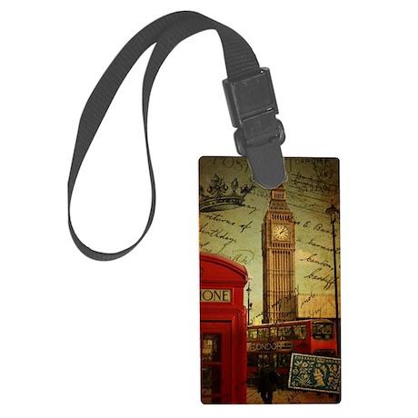 vintage London UK fashion Large Luggage Tag