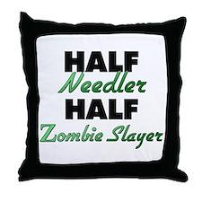 Half Needler Half Zombie Slayer Throw Pillow