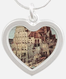 Tower of Babel by Pieter Bru Silver Heart Necklace