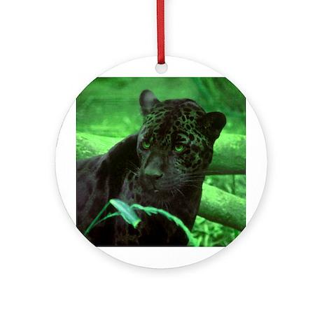 Black Jaguar Ornament (Round)