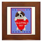 Valentine Saint Bernard Framed Tile