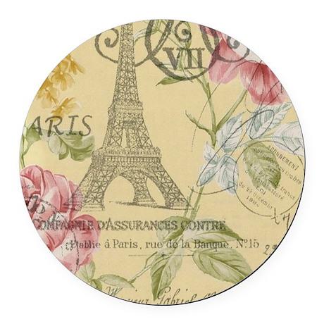 floral paris eiffel tower roses Round Car Magnet