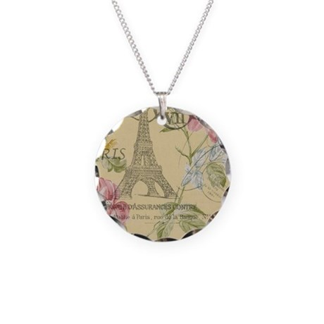 floral paris eiffel tower ro Necklace Circle Charm