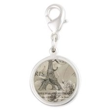 floral paris eiffel tower rose Silver Round Charm
