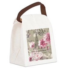 floral paris eiffel tower roses Canvas Lunch Bag