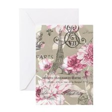 floral paris eiffel tower roses Greeting Card