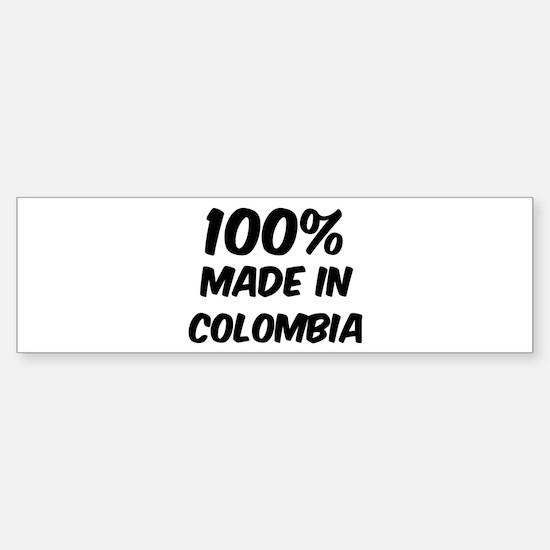 100 Percent Colombia Bumper Bumper Bumper Sticker