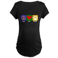 Peace Love Pit Bull Maternity T-Shirt