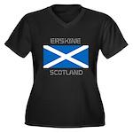 Erskine Scotland Women's Plus Size V-Neck Dark T-S