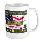 Truckers To Shutdown America Large Mugs
