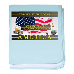 Truckers To Shutdown America Large baby blanket