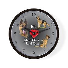 Ich (heart) Oma Und Opa German Shepherd Wallclock