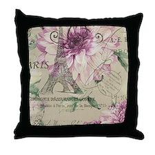 floral paris eiffel tower roses Throw Pillow