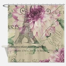 floral paris eiffel tower roses Shower Curtain