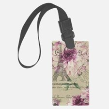 floral paris eiffel tower roses Luggage Tag